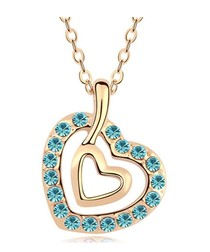 Blue gold-plated crystal heart necklace