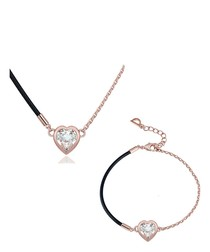 White Swarovski Crystal Elements Heart Necklace and Pendant Set