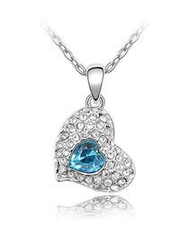 Blue Swarovski Crystal Element Heart Necklace