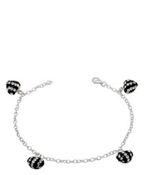 Black and White Crystal Hearts Bracelet and 925 Silver