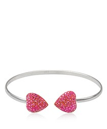 925 Silver Bangle Bracelet and Pink Crystal Hearts