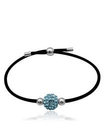 Black Stretchy Bracelet Blue Crystal Bead and 925 Silver