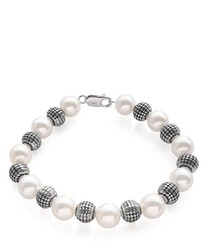 White Freshwater Pearl and 925 Silver Bracelet