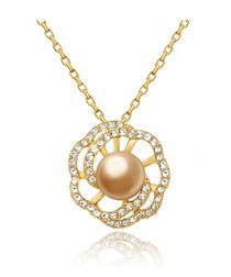 Gold Pearl and Swarovski Crystal Elements Flower Pendant and Yellow Gold Plated