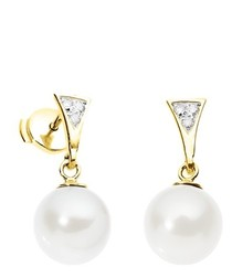 White Freshwater Pearl Diamond Earrings and yellow gold 750/1000