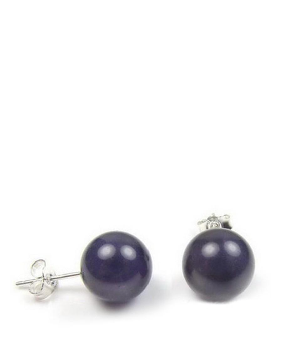 0.8cm purple pearl earrings Sale - Blue Pearls