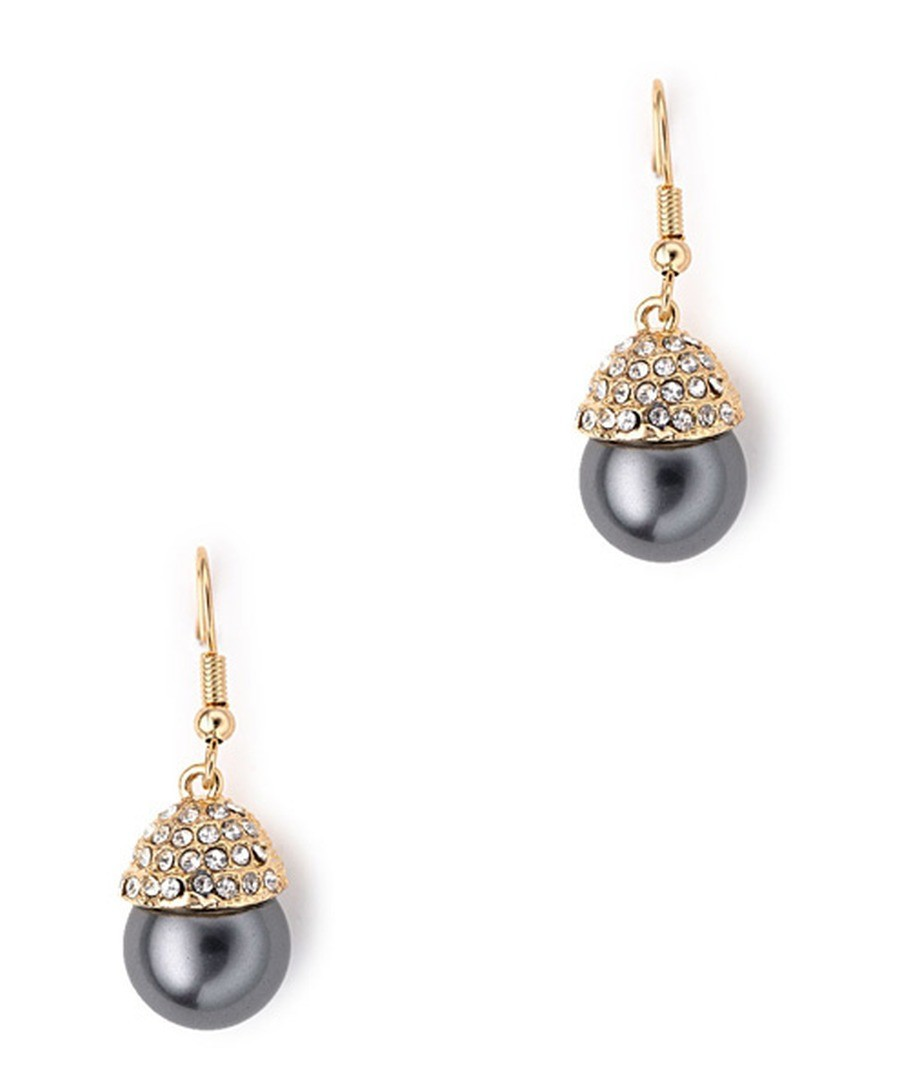 18ct gold-plated black pearl earrings Sale - Blue Pearls