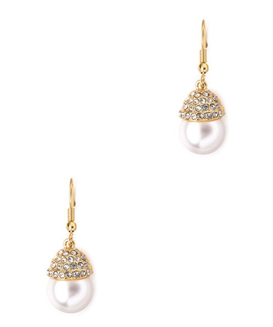 18ct gold-plated white pearl earrings Sale - Blue Pearls