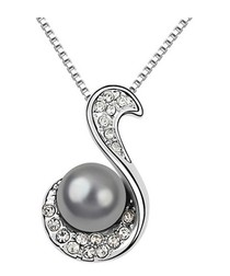 18ct gold-plated & black pearl necklace