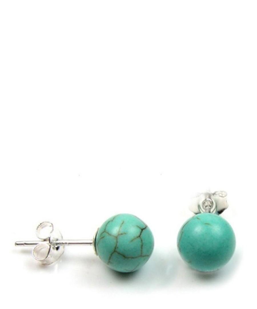 0.8cm turquoise pearl & silver earrings Sale - Blue Pearls