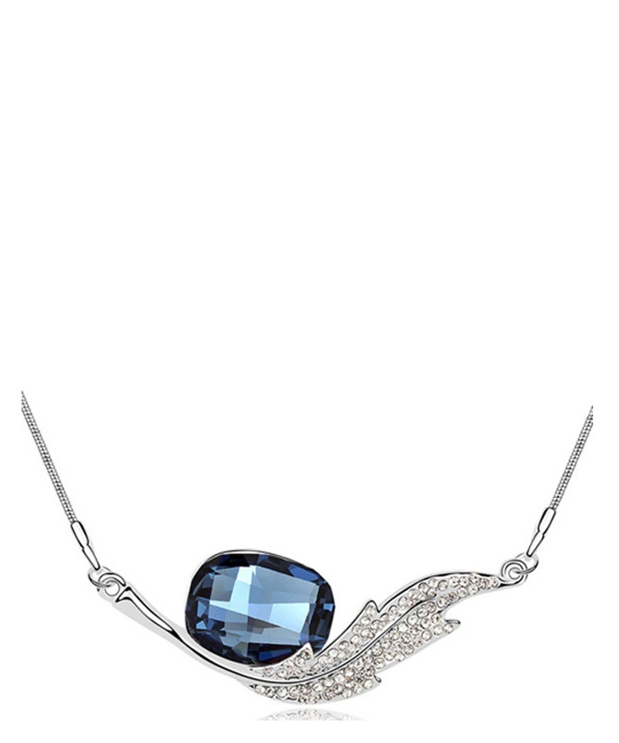 Blue white gold-plated crystal necklace Sale - Blue Pearls