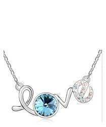 White gold-plated crystal Love necklace