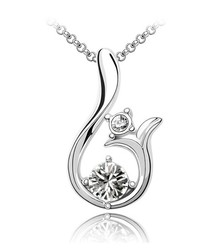 18ct white gold-plated crystal necklace