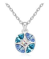 Blue white gold-plated crystal necklace