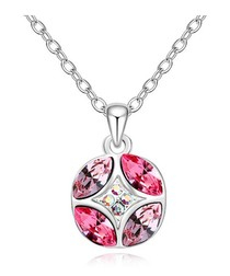 Pink gold-plated crystal necklace