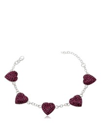 Purple Hearts Crystal and 925 Silver Bracelet