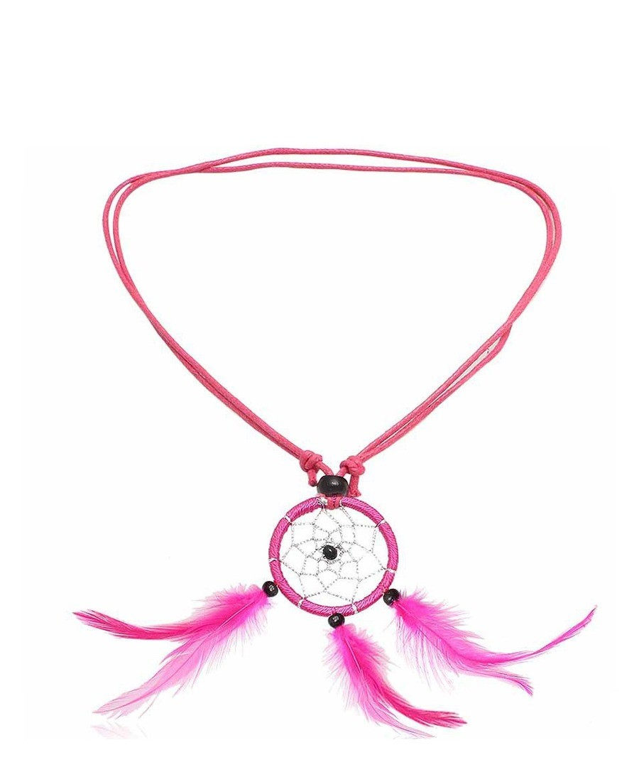 Dream Catcher Feathers, Beads and Cotton Pink Necklace Sale - Blue Pearls