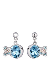 Blue Swarovski Crystal Elements Fish Earrings and Rhodium Plated