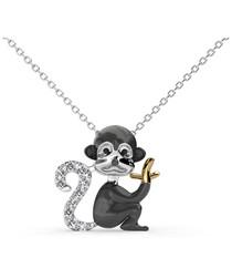 Monkey Pendant with White Swarovski Element Crystals