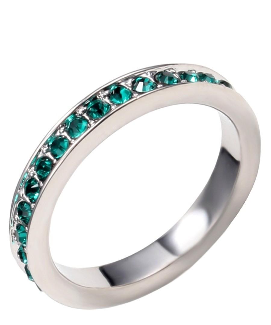 Green Swarovski Crystal Elements Alliance Ring Sale - Blue Pearls