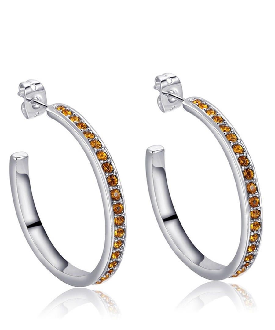 Gold Swarovski Crystal Elements Hoop Earrings Sale - Blue Pearls