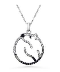 Black Swarovski Crystal Elements Polar Bear Pendant and Rhodium Plated