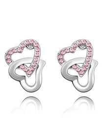 Pink Swarovski Crystal Elements Double Hearts Earrings