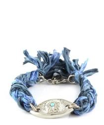 Ettika - Black and Blue Ribbons and Silver Eye Bracelet