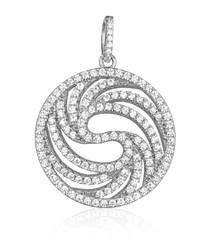 Circle Silver Pendant and 137 White Swarovski Crystals Cubic Zirconia