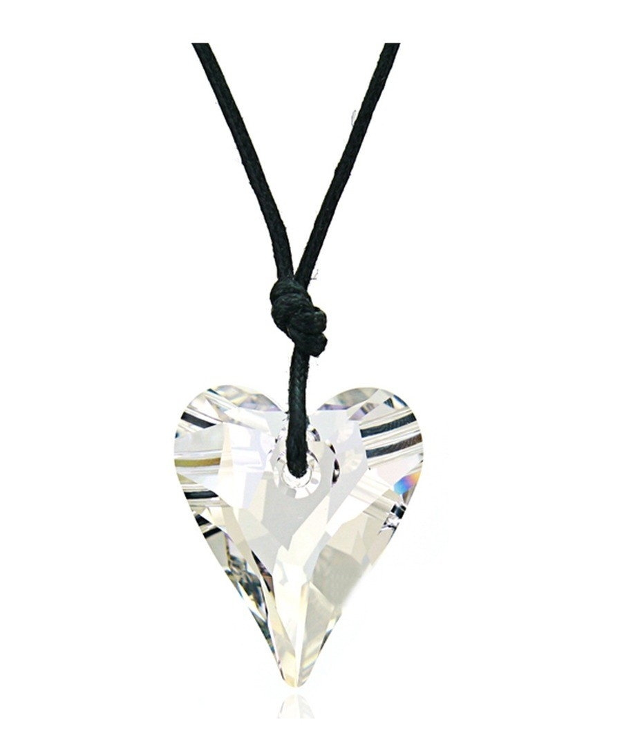 Multi-colour crystal heart cord necklace Sale - Blue Pearls