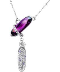 Rhinestone, Purple Swarovski Crystal Elements and Rhodium Plated Necklace