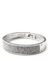 White Swarovski Crystal Elements Bangle Bracelet and White Gold plated