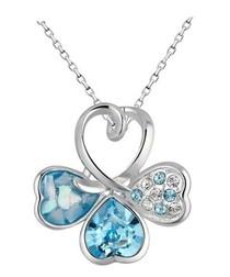 Blue Swarovski Crystal Elements Clover Pendant and Rhodium Plated