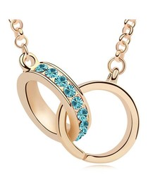 Gold-plated & blue crystal necklace