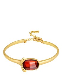 Red Swarovski Crystal Elements Bangle Bracelet and Yellow Gold Plated