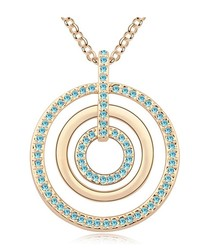 Gold-plated crystal circle long necklace