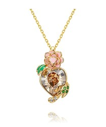 Yellow Heart and Pink Flower Swarovski Crystal Elements Pendant
