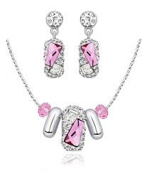 Pink Swarovski Crystal Elements Finesse Necklace and Earrings Set