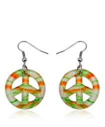 Earrings Peace Orange and Green Murano Glass