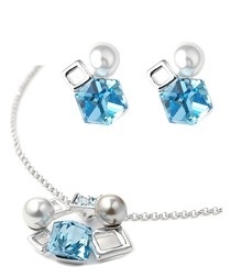 Pearls, Cubes and Blue SSwarovski Crystal Elements Necklace and Earrings Set