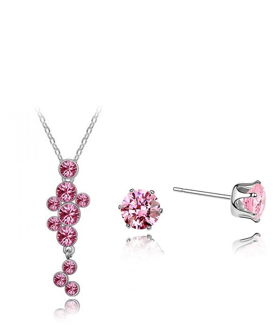 Pink Swarovski Crystal Elements Necklace and Earrings Set Sale - Blue Pearls