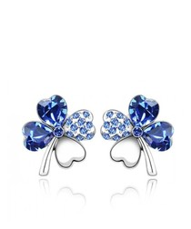 Blue Swarovski Crystal Element Clover Earrings