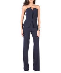 Dark blue V-neck peplum jumpsuit