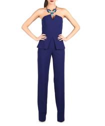 Royal blue peplum jumpsuit