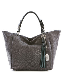Grey leather tassel detail slouch tote