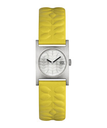 Nemo mustard leather embossed watch