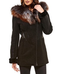 Calista black leather hooded coat
