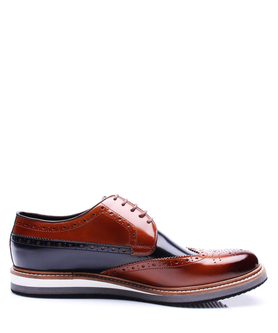 Dark blue & tan leather brogues Sale - REPRISE