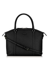 Black leather embossed shoulder bag