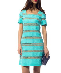 Turquoise cotton blend panel dress
